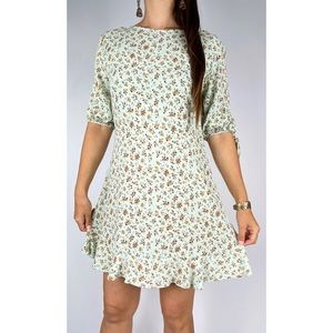 COTTON ON Green Orange Floral Print Half Sleeve Mini Dress XL Plus Size AU 16